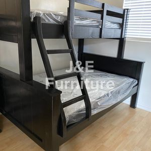 Solid Wood Twin Over Full Bunk Bed (Mattress Included ) for Sale in Downey, CA