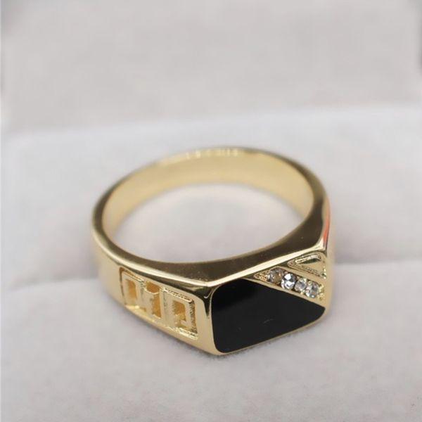 SALE!!! 18k Gold Men Engagement /Wedding/Christmas/Birthday/Anniversary/Hanukkah Ring filled Black Enamel