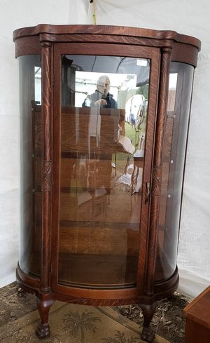 Antique Oak Curved Glass China Cabinet for Sale in Umatilla, FL