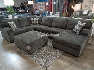 Sectional Couch with Ottoman, Smoke, SKU# ASH8070308TC for Sale in Santa Fe Springs, CA