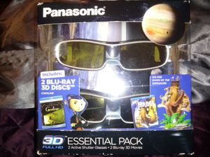 Panasonic 3D glasses and 2 blue ray movie s for Sale in Nashville, TN