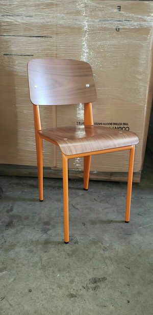 Commercial Restaurant AND Cafe Side Chair. Orange Metal Frame with Walnut Plywood Seat and Back for Sale in South El Monte, CA
