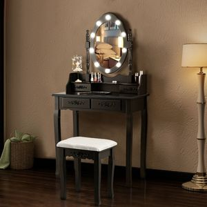 🌟 BRAND NEW Black Makeup Mirror Vanity w/ Lights & Stoôl for Sale in Miami, FL