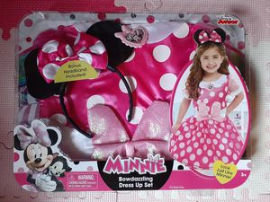 DISNEY JUNIOR MINNIE MOUSE PINK COSTUME DRESS w/ HEADBAND EARS TODDLER GIRL SIZE 4-6x NEW for Sale in Fontana, CA