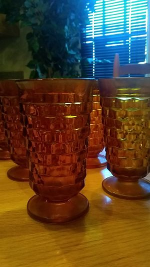 Golden antique glass set ( set of 8) for Sale in Greensboro, NC