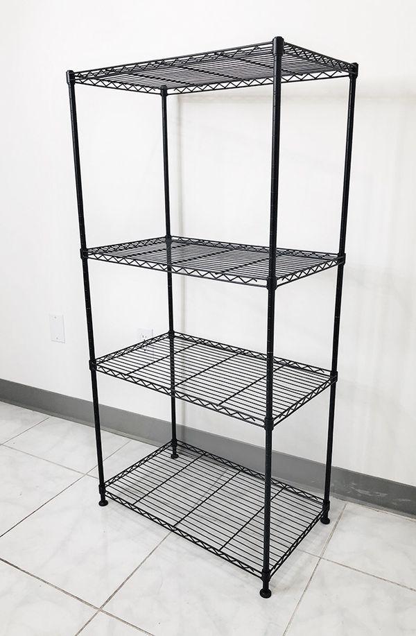 "New $35 Small Metal 4-Shelf Shelving Storage Unit Wire Organizer Rack Adjustable Height 24x14x48"""