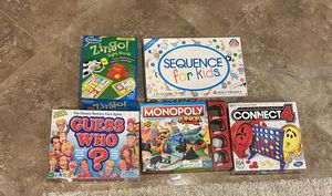 Set of 5 preschool kids board games: educational zingo guess who monopoly connect 4 sequence for Sale in Los Angeles, CA