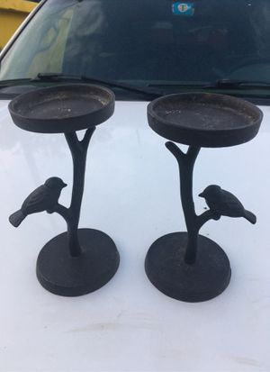 "2 cast iron candle holders 8"" x 4"" birds on a branch for Sale in Dallas, TX"