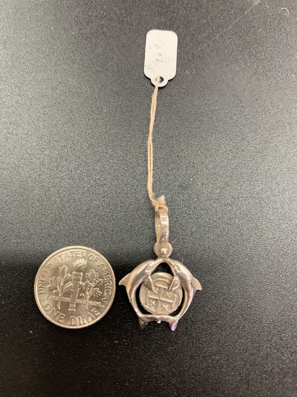 Atocha silver coin pendant in dolphins
