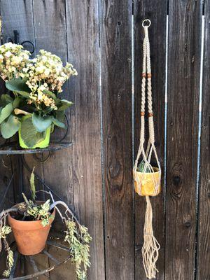 hemp cord boho macrame pot holder/plant hanger for Sale in Whittier, CA