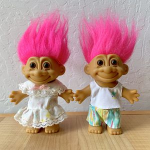 Vintage Russ Pink Haired Troll Dolls in Summer Beach Clothes Outfits Collectable Toys for Sale in Elizabethtown, PA