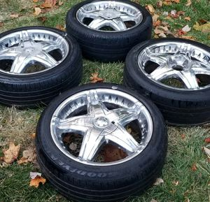 4 17in 4x100 4x114.3 wheels rims and tires for Sale in Rockville, MD