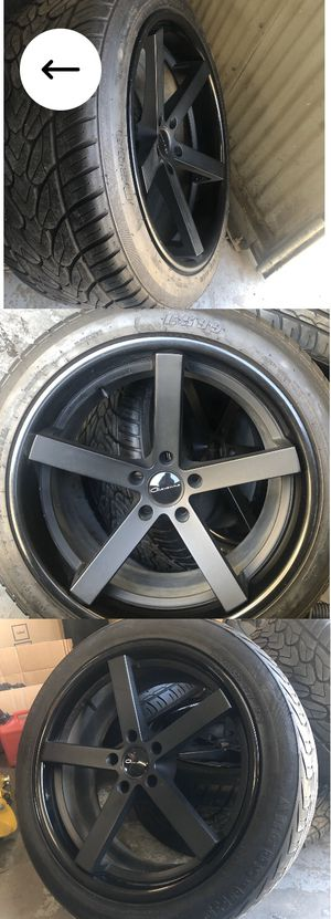 Giovanna rims 20 inch wheels and tires black fits BMW, LAND ROVER, HONDA, LEXUS, BENTLEY, ACURA, CADILLAC, CHEVY CAMARO like new for Sale in Whittier, CA