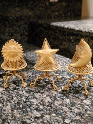 Decorative Metal Candle Holders, Celestial Decor - set of 3 - Sun, Moon, & Star for Sale in Henderson, NV