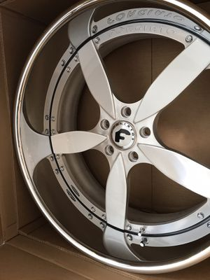 """22"""" Forgiato wheels rims tires. Matching steering wheel. 5x120 5x4.75 bolt pattern for Sale in Cicero, IL"""