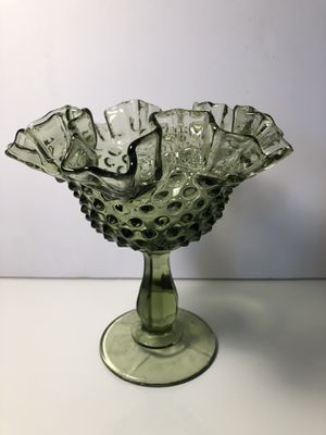 Antique Fenton Glass Art Bowl Vase Made in USA Green for Sale in Houston, TX