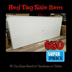 "NEW 96"" Dry Erase Board w/ Hardware to Hang w/ Small Defect: njft office for Sale in Burlington,  NJ"