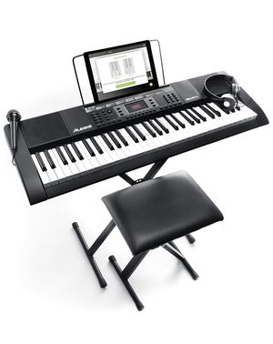Alesis Melody 61 MKII | 61 Key Portable Keyboard with Built In Speakers, Headphones, Microphone, Piano Stand, Music Rest and Stool for Sale in Parma, OH