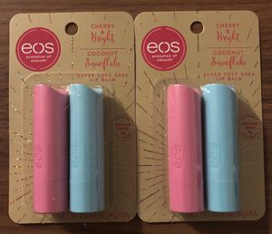 2 packages of Eos cherry & bright and Coconut snowflake for Sale in Riverside, CA