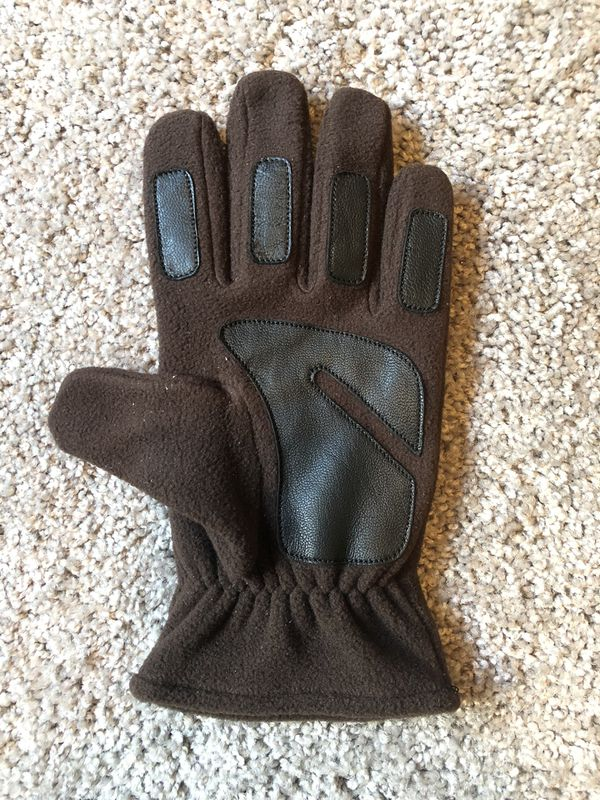 Fleece Gloves with leather.