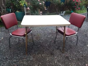Vintage formica table and 2 vinyl and chrome chairs for Sale in Everett, WA
