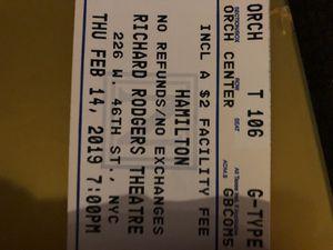 Hamilton Broadway New York tickets Valentine's Day 2/14/2019 7:00pm orchestra for Sale in PECK SLIP, NY