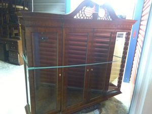 Mahogany triple door antique bookcase with very thick durable glass and mahagony hutch end table for Sale in Cartersville, GA