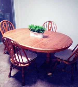 Double Pedestal 7 piece Oak Dining Room Table and Chair Set for Sale in Phoenix, AZ