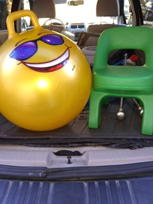 Plastic kids chair and hop ball for Sale in Alexandria, VA