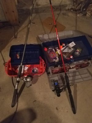 Fishing rods and 2 boxes with gear for Sale in McKeesport, PA