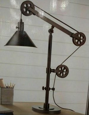 BRAND NEW IN BOX!! Industrial Farmhouse Table Lamp w/Pulley + 1 Light Bulb INCLUDED for Sale in Monterey Park, CA
