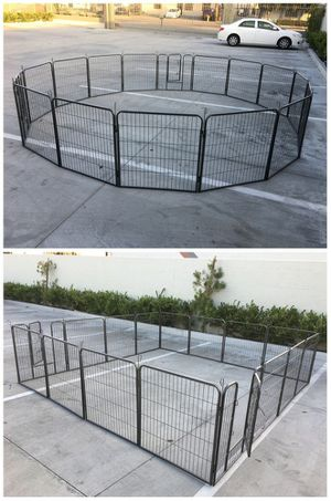 New 32 inch tall x 32 inches wide each panel x 16 panels heavy duty exercise playpen adjustable fence safety gate dog cage crate kennel for Sale in Whittier, CA