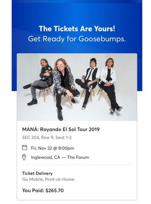 Mana tickets @forum for Sale in Los Angeles, CA