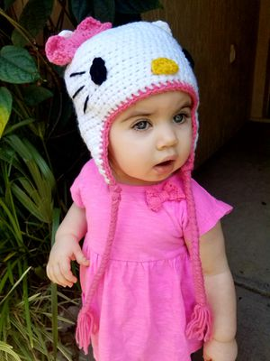 Hello kitty crocheted toddler hat for Sale in Winter Springs, FL