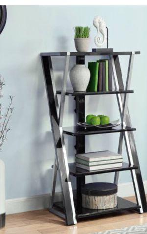 New!! Bookcase, bookshelves, storage unit, organizer, shelving display, 5 tempered black glass bookcase, living room furniture, entrance furniture for Sale in Phoenix, AZ
