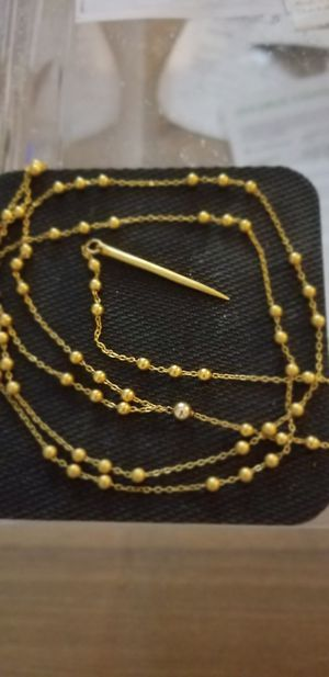 Beaded Y Gold Plated Necklace w/Point End for Sale in White Plains, NY