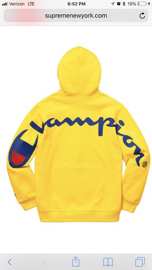 Supreme x Champion Hoodie Yellow Large for Sale in Austin, TX