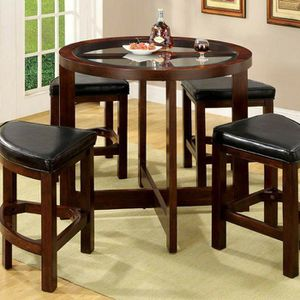 Dark Walnut Finish 5 PIECE COUNTER HEIGHT ROUND DINING TABLE SET for Sale in Riverside, CA