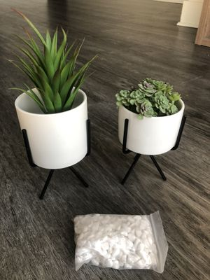 Artificial fake plant set with stones and metal stand for Sale in Tampa, FL