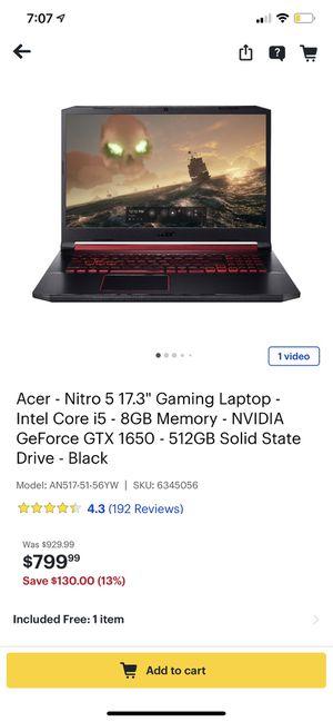 Acer nitro 5 for Sale in Saint Paul, MN