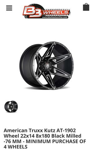 American Truxx Kutz AT-1902 Wheel 22x14 8x180 Black Milled -76 MM for Sale in Irwindale, CA