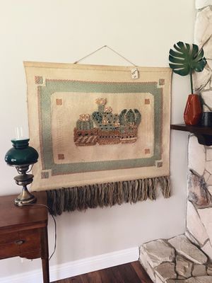 Large Mid Century Jute Cactus Tapestry Don Freedman ICA Wall Hanging for Sale in Los Angeles, CA
