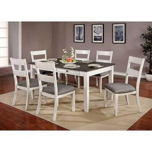 WHITE GRAY TWO TONE 7 PIECE DINING TABLE SET / COMEDOR MESA 6 SILLAS for Sale in Rancho Cucamonga, CA