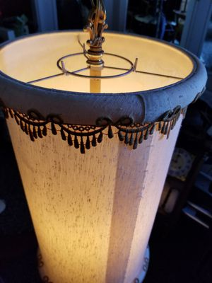 Retro White Swag clothe lamp. Works great for Sale in Mesa, AZ