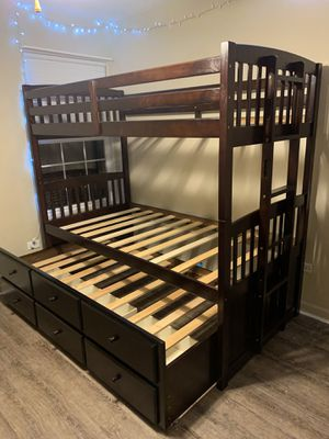 Brand New Triple Twin Trundle Wood Bunk Bed for Sale in Oak Lawn, IL