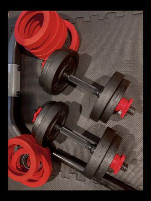 Brand new in box never opened 60 lb adjustable dumbbells with barbell attachment for Sale in Chula Vista, CA
