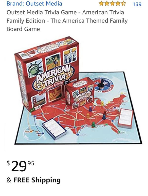 New American trivia board game Junior edition – ages nine and up - teach history, geography
