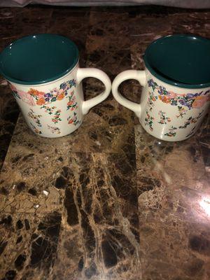 1989 Potpourri Press Christina Floral Vintage Coffee Mug Cup Tea Green lot of 2 for Sale in Hayward, CA