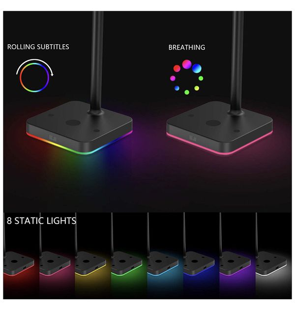 RGB Headphone Stand with USB Hub KAFRI Desk Gaming Headset Holder Hanger Rack with 1 USB2.0 Extension Charging Port Extender Cord - Suitable for Game