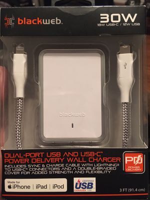 Blackweb- Dual Port USB + USB-C Power Delivery Wall Charger for Sale in Decatur, TX